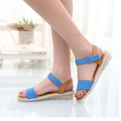 Sweet Ladies Basic Adhesive Sandals Patch Comfortable Flat Women Shoes Soft Leather Leisure blue US6.5