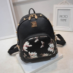 Women Backpacks 3D Printing Floral PU Leather RivetTrendy Designer School Bags Teenagers Girls #01 one size