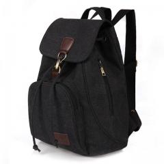 Female women canvas backpack preppy style school Lady girl student school laptop bag mochila bolsas black one size