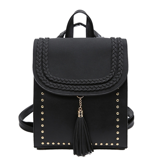 f67fcc5794 New Backpack Fashion Tassel Rivets School Bag Messenger Bag Back to School  Cute Backpack black one size  Product No  652546. Item specifics  Brand