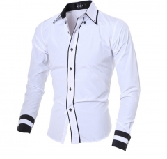 Fashion Brand Men'S Cuff Striped Long-Sleeved Shirt Male Camisa Masculina Casual Slim Chemise Homme white M