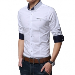 New Spring Cotton Shirts Men High Quality Long Sleeve Slim Fit Shirt Pure Color Modern Casual Camisa white M