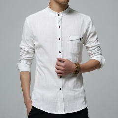 Shirt Men Casual Shirts Solid Color Slim Fit Cotton Long Sleeve Stand Collar 5XL Brand Clothing white M