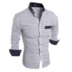 New Fashion Mens Slim Fit Shirt Long Sleeve Plaid Shirts Casual Tops White white M