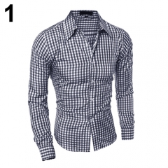 Men's Fashion Casual Lapel Button Down Plaid Long-Sleeved Slim Fit Shirt Top #01 M