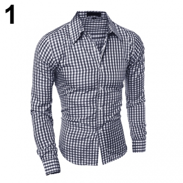 Men's Fashion Casual Lapel Button Down Plaid Long-Sleeved Slim Fit Shirt Top #01 XL