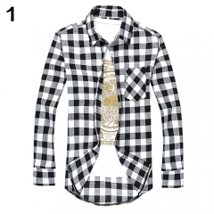 Men's Fashion Casual All-Match Plaid Pattern Long-Sleeved Slim Fit Shirt Top #01 M