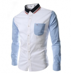 casual fashion brand business shirt long-sleeved men's shirt Slim fit suitcase men's clothing white M