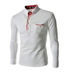 Casual Long Sleeved Polka Dot shirt Slim Fit Male Social Business Dress Shirt Brand Men Clothing white M