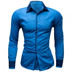 Mens Dress Shirts Hawaiian Style Slim Long Sleeve Dress Shirts Camisa Masculina Casual Shirts #01 M
