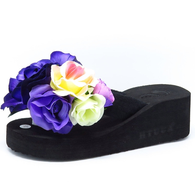 e5925c72a8b8b Summer Slippers Women Fashion Flip Flops Beach Platform Sandals Handmade  Flowers Wedge Jelly Shoes #03 US6