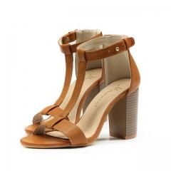 Women's Sandals Summer European PU T-Strap Women high heels Sandals Shoes for Women brown US8