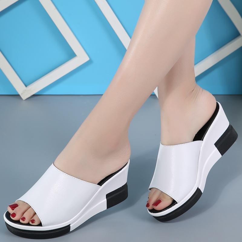23cb4a5152a ... Leather Shoes Women Sandals Ladies Flat Open Toe Ladies Slipper white  US7  Product No  666796. Item specifics  Brand