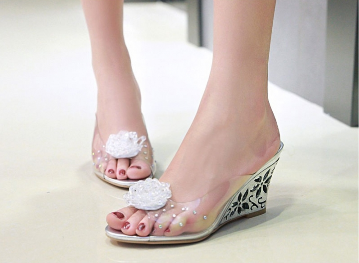 Women Shoes Slides Summer Sandals Flower Transparent Slippers High Heels  Beading Mules Shoes silver US9 21bd3dd3854d