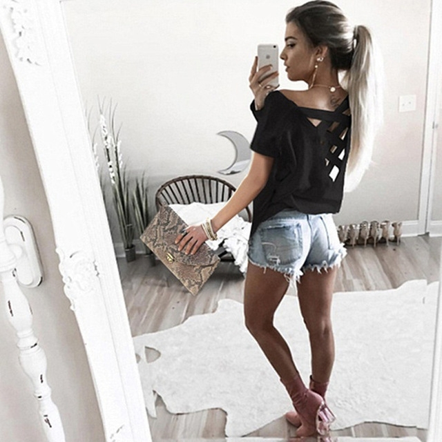 Sexy Hollow Out T Shirt Women Fashion Short Sleeve Off The Shoulder Tops O Neck Cold Shoulder Tee black M
