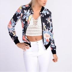 Flower Print Women Basic Coats Long Sleeve Zipper Bomber Jacket Casual Coat Streetwear sukajan #01 S