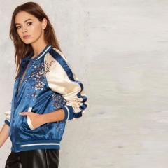 Women Bomber Jackets Parkas Cool Zipper Down Jacket Coats Streetwear Patchwork Biker Outwear blue S