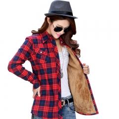 warm coat female thick velvet shirt plaid long-sleeved shirt comfortable  fashion cotton shirt women #01 M