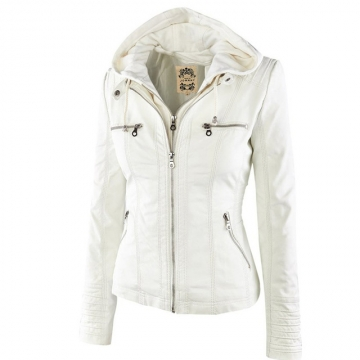 Winter Leather Jacket Women's Basic Coats Long Sleeve Hat Removable Waterproof Windproof Jackets white L