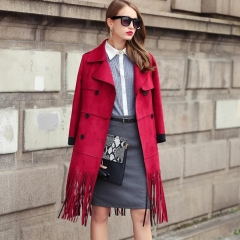 New Fashion Autumn Korean Solid Color Women Coat Stitching Tassel Turn-down Collar Female Jacket red M