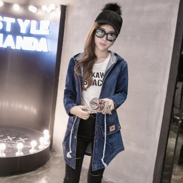 Autumn Spring Women High Quality Long Denim Jackets Fashion Loose Single Breasted Pockets Jeans Coat #01 M