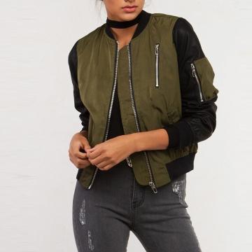 Women Jacket Contrast Patchwork Zipper Bomber Casual Coat Crew Neck Solid Streetwear Warm green S