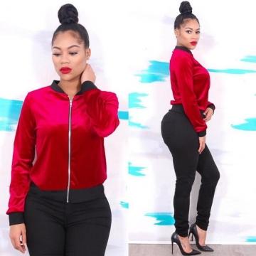 Autumn Velvet Jackets Women Bomber jacket Full sleeve Short style Coat jaqueta feminina Casaco red L