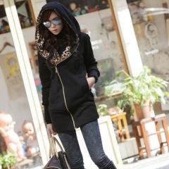Fashion Autumn Winter Women Ladies Leopard Hooded Fleece Jacket Zip Up o Neck Coat Outerwear black M