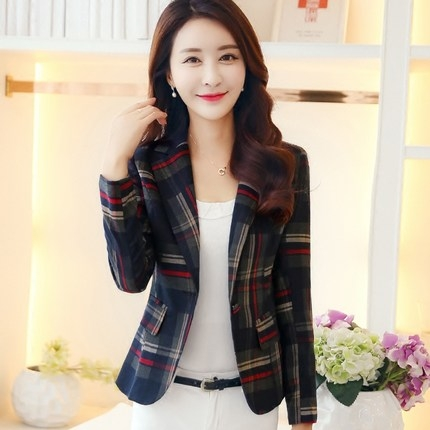 New Korean autumn and a buckle small suit jacket female commuter classic British plaid long-sleeved red XL