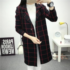 European Fashion Womens Knitting Coat in the Long Section of the Coat Solid Color Lattice Jacket black M