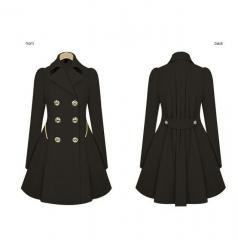 Womens Coat Commuter Office OL Slim Fashion Ruffles Windbreaker Double Breasted black S