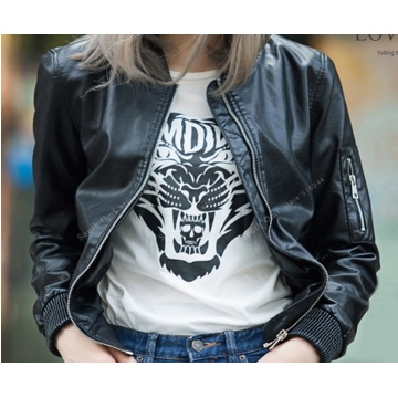Leather Bomber Jacket Women Pink/blue/Black jackets ladies zipper PU baseball blouson Moto femme black M