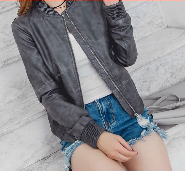 605f8fa7e Leather Bomber Jacket Women Pink/blue/Black jackets ladies zipper PU  baseball blouson Moto femme gray L
