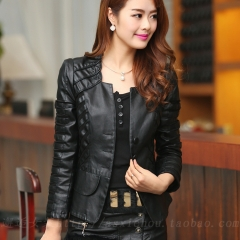 New Fashion Spring Autumn Women Faux Soft Leather Jacket Pu Zippers Long Sleeve Motorcycle Coat black S