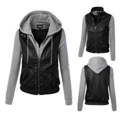 Autumn Women Fashion Fake Two Removable Cap Stitching PU Leather Fleece black M