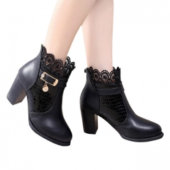 Women Boots Thick Heel Platform Shoes Buckle Autumn Winter Sexy Boots For Women Riding Ankle Boots black US5
