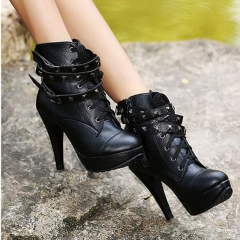 New Women Ankle Boots Motorcycle Thin High Heel Double Buckle Gothic Punk Platforms Botas Mujer black US5