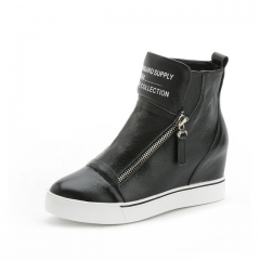 Fashion Zapatos Mujer Height Increasing Women's Casual Shoes High Top Wedges Platform Ankle Boots black US5.5