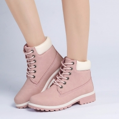 Autumn Boot  Platform Pink Women Ankle Boots Soft Leather Lace up Ladies Shoes Botas Mujer pink US5