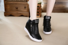 summer autumn  wedge heel boots Women Shoes with increased platform fashion casual zip botas black US5.5