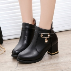 Autumn Winter Women Ankle Boots High Thick Heel Platform Crystals Buckle Waterproof Riding Boots black US5