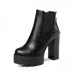 Soft PU Zipper Punk Shoes Women Square High Heel Ankle Boots Platform Snow Boots Sexy Lady black US5