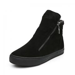 Women Winter Ankle Boots Warm Cotton Ladies Platform Casual Zipper Breathable Flat Canvas Shoes black US5.5