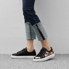 Spring Autumn Shoes Women Lace-up Embroidery Flat Fashion Designer Flower Casual Platform Shoes black US5