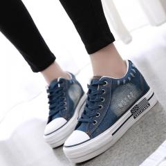 Women Shoes Lace Up Casual Denim Canvas Shoes Woman Platform Ladies Shoes Spring Summer blue US4