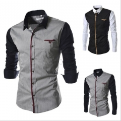 Mens Shirt Long Seeve Autumn Fashion Sim Fit  Brand Design Patchwork Chemise Homme Camisas Hombre gray M