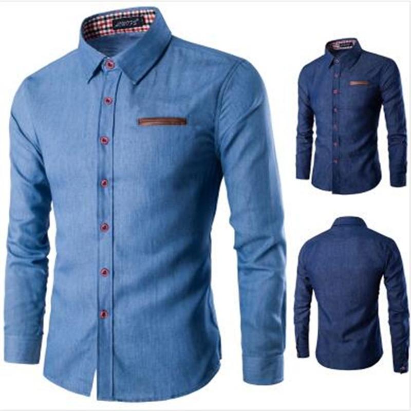 10ff816fbdd Men s Denim Long Sleeve Shirt Brand Clothing Male Slim Fit Shirts Denim  Workwear Men Jeans Shirt light blue 2XL  Product No  688631. Item  specifics  Brand