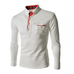NEW Arrivals Men Fashion England Style Long Sleeve Wave Point Printed Shirt white M