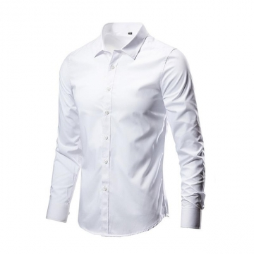High Quality Classic Twill Business Men's Shirts Long Sleeve Turndown Collar Plus Size Dress Shirt white M