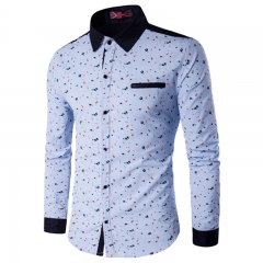 Autumn Men Clothes Slim Fit Men's Long Sleeve Shirt Men Polka Dot Casual Men Shirt Social Plus Size #01 M